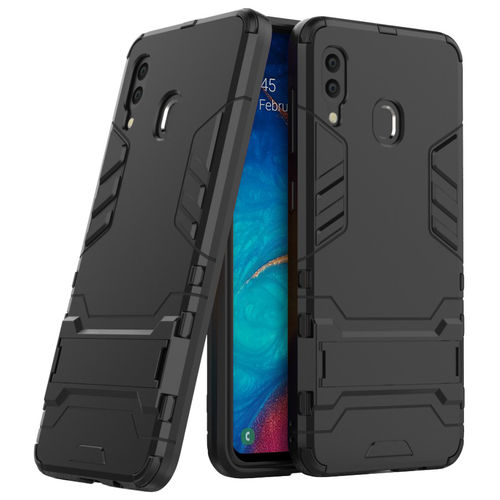 Slim Armour Tough Shockproof Case & Stand for Samsung Galaxy A20 / A30 - Black